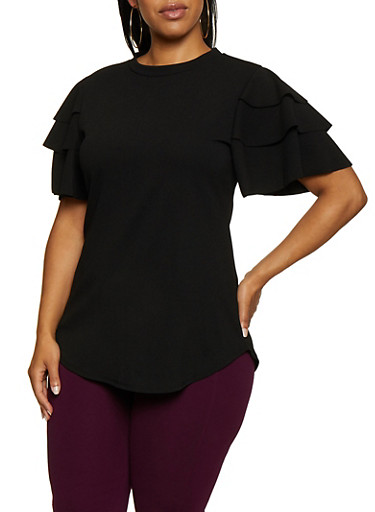 Plus Size Tiered Sleeve Crew Neck Top,BLACK,large