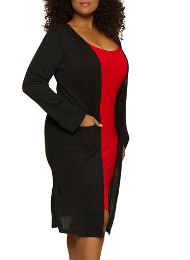 Plus Size Ribbed Knit Two Pocket Duster,BLACK,large
