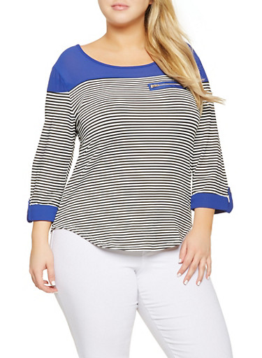 Plus Size Striped Tabbed Sleeve Top,RYL BLUE,large