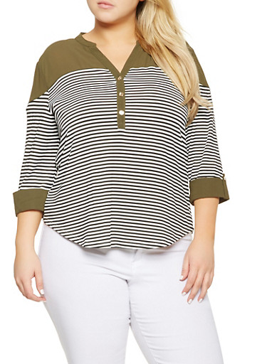 Plus Size Striped Tabbed Sleeve Top,OLIVE,large