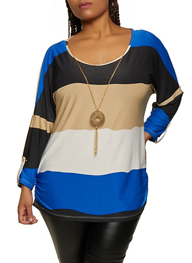 Plus Size Color Block Striped Top with Necklace,RYL BLUE,large