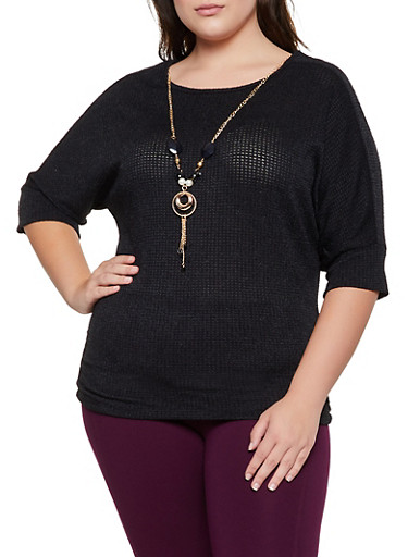 Plus Size Knit Top with Necklace,BLACK,large