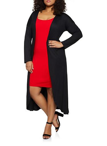 Plus Size Soft Knit Long Sleeve Duster,BLACK,large