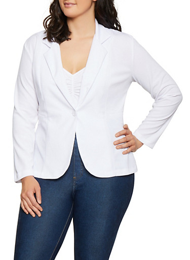 Plus Size Textured Knit Solid Blazer,WHITE,large