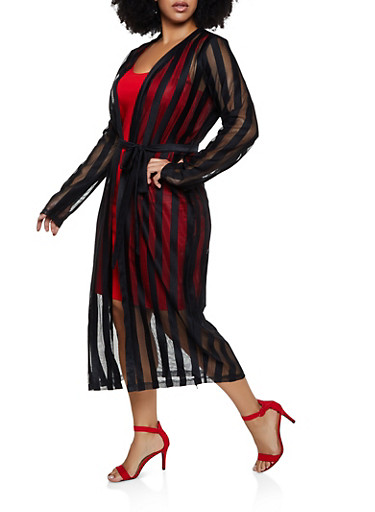Plus Size Shadow Stripe Belted Duster,BLACK,large