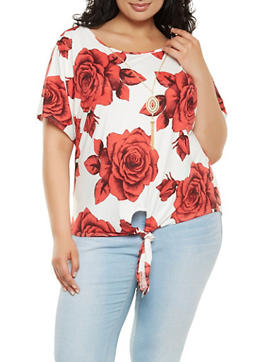 Plus Size Floral Tie Front Top with Necklace,IVORY,large