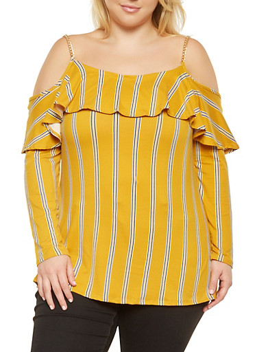 Plus Size Striped Off the Shoulder Tunic Top,MUSTARD,large