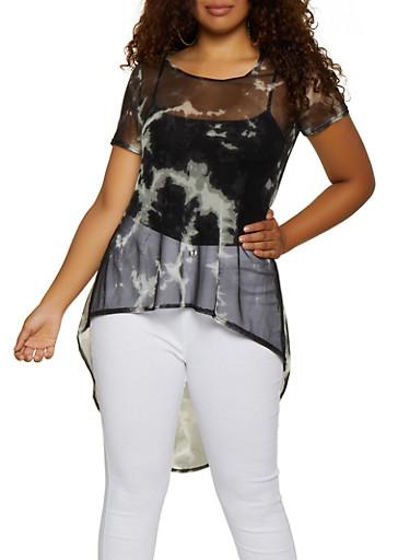 Plus Size Tie Dye Mesh High Low Top,CHARCOAL,large