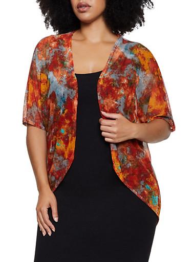 Plus Size Tie Dye Mesh Kimono,ORANGE,large