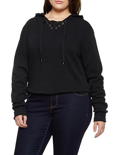 Plus Size Split Zip Hooded Sweatshirt,BLACK,large
