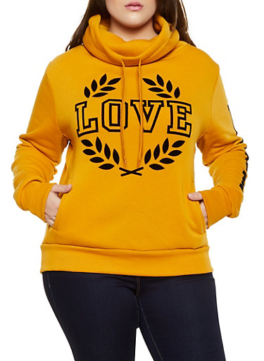 Plus Size Love Graphic Cowl Neck Sweatshirt,MUSTARD,large