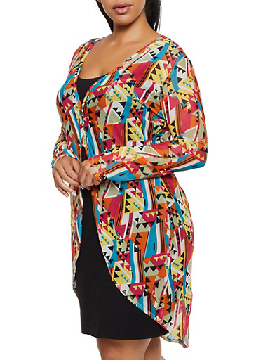 Plus Size Sheer Printed Mesh Maxi Top,TURQUOISE,large