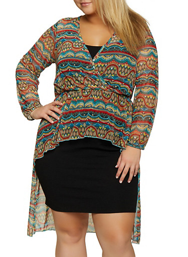 Plus Size Printed Mesh Faux Wrap High Low Top,TEAL,large
