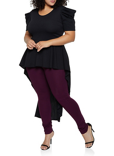 Plus Size Ruffle High Low Textured Knit Top,BLACK,large