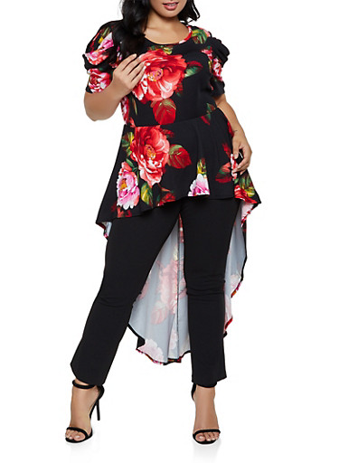 Plus Size Ruffled Floral High Low Top,BLACK,large