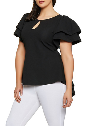 Plus Size Tiered Sleeve High Low Top,BLACK,large