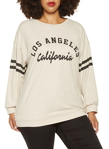 Plus Size Graphic Varsity Stripe Top,IVORY,large