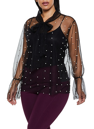 Plus Size Tie Neck Faux Pearl Studded Mesh Top,BLACK,large