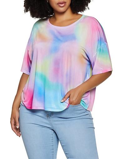Plus Size Tie Dye Spandex Top,MULTI COLOR,large
