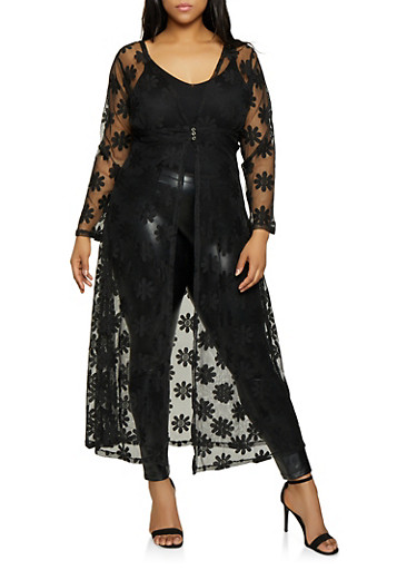 Plus Size Flower Lace Maxi Top,BLACK,large