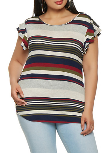 Plus Size Striped Flutter Sleeve Tee,NAVY,large