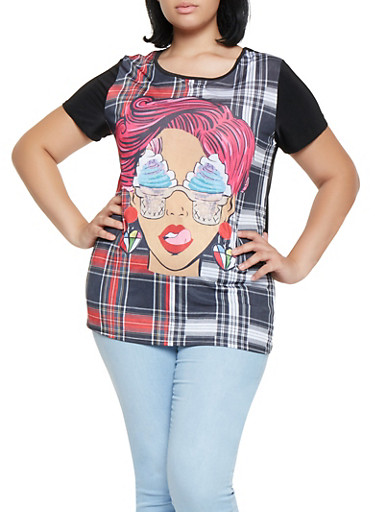 Plus Size Plaid Face Graphic Tee,BLACK/WHITE,large