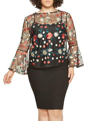 Plus Size Embroidered Mesh Top | Tuggl