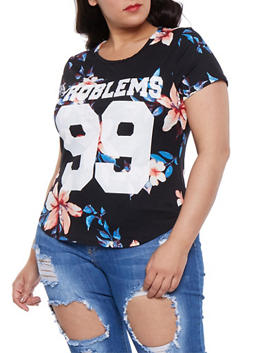Plus Size 99 Problems Graphic Tee,RED,large