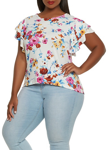 Plus Size Tiered Sleeve Floral Tee,IVORY,large
