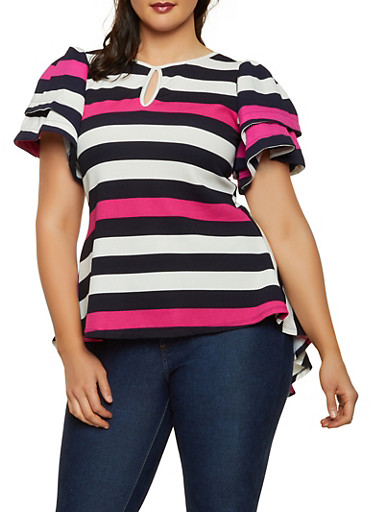 Plus Size Striped Crepe Knit High Low Top,FUCHSIA,large