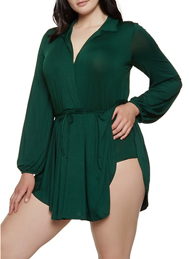 Plus Size Ruffle Overlay Faux Wrap Bodysuit,GREEN,large