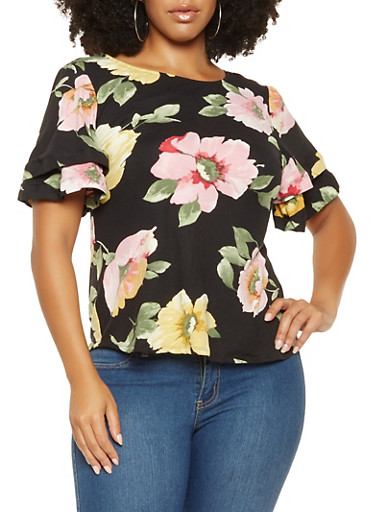 Plus Size Tiered Sleeve Floral Top,BLK PTN,large