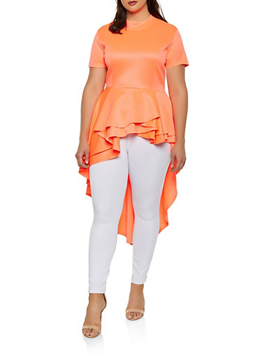 Plus Size Neon High Low Peplum Top,CORAL,large