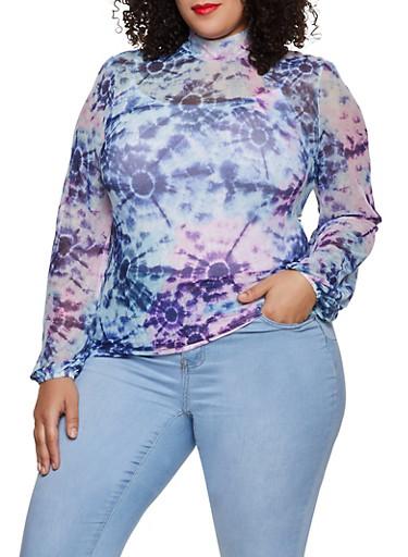 Plus Size Printed Mesh Mock Neck Top,BLUE,large