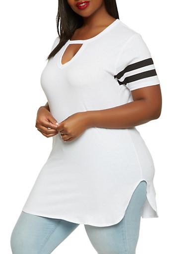 Plus Size Keyhole Tunic Top,WHITE,large