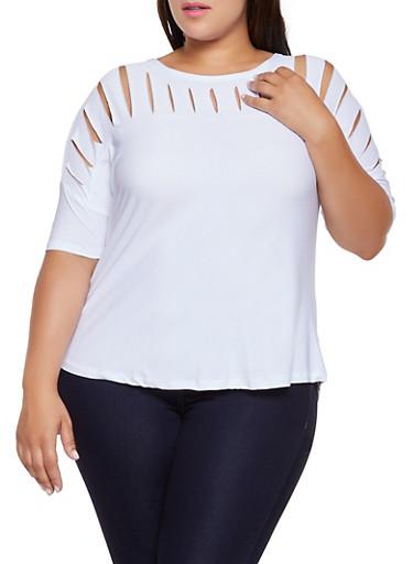 Plus Size Slashed Yoke Top,WHITE,large