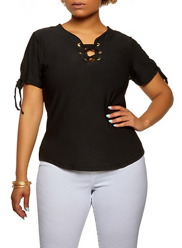 Plus Size Solid Lace Up Top,BLACK,large