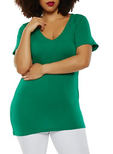 Plus Size Basic V Neck Tee,GREEN,large