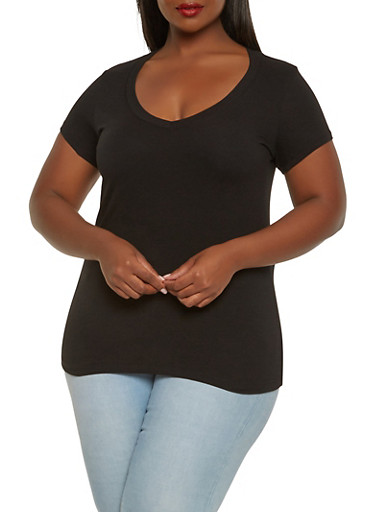 Plus Size Basic V Neck Tee,BLACK,large