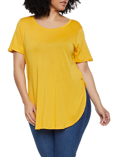 Plus Size Round Hem Side Slit Tee,MUSTARD,large