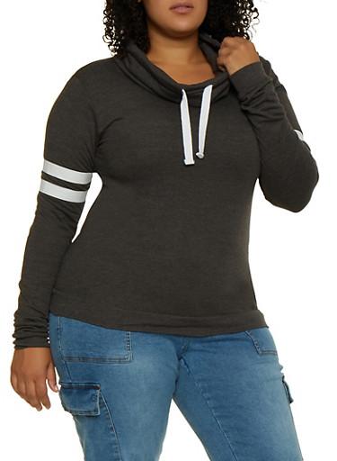 Plus Size Funnel Neck Sweatshirt,CHARCOAL,large