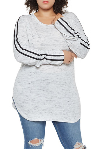 Plus Size Varsity Stripe Tee,OATMEAL,large