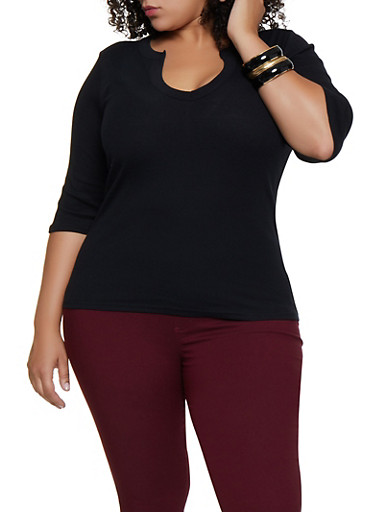 Plus Size Ribbed Knit Top,BLACK,large