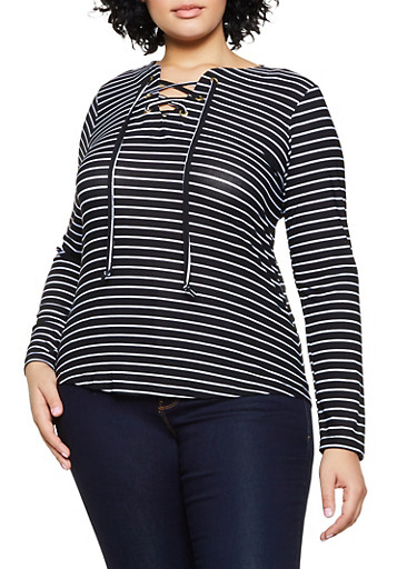 Plus Size Lace Up Striped Top,BLACK/WHITE,large