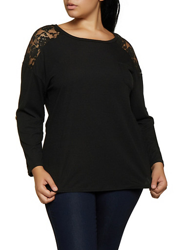 Plus Size Rib Knit Lace Yoke Top,BLACK,large
