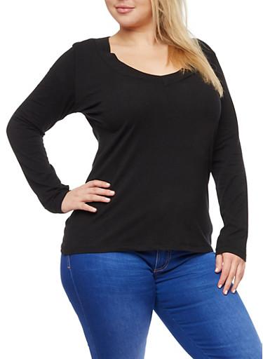 Plus Size Wide V Neck Long Sleeve Top,BLACK,large