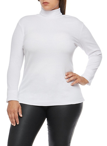Plus Size Ribbed Knit Turtleneck,WHITE,large