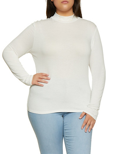 Plus Size Mock Neck Long Sleeve Top,WHITE,large