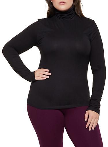 Plus Size Soft Knit Turtleneck Top,BLACK,large