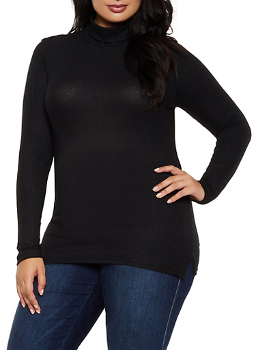 Plus Size Ribbed Turtleneck Top,BLACK,large